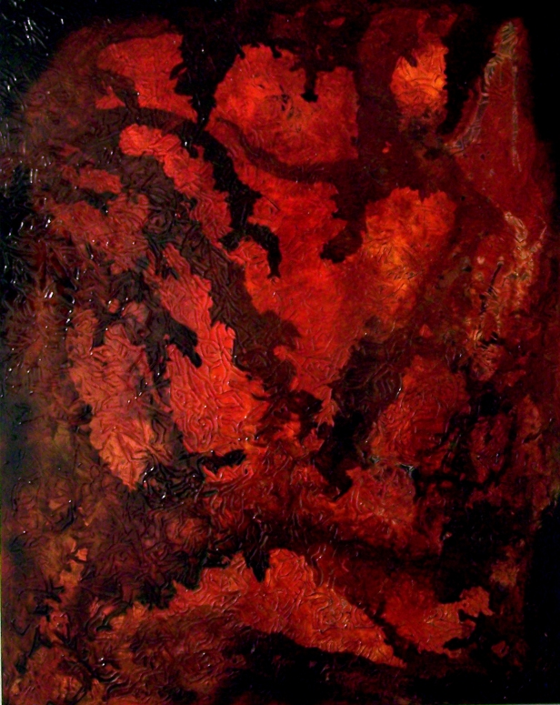 'Big Red', Acrylic paint, ink and varnish on canvas 142cms x112cms, (2)